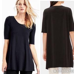 Eileen Fisher Scoop Neck Jersey Tunic Top Black XL